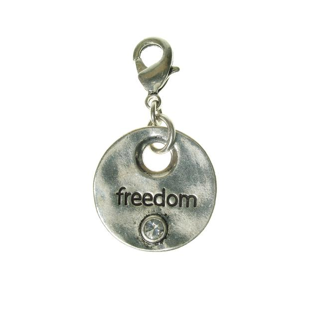 A & C Disc Charm 'FREEDOM' Silver Plate
