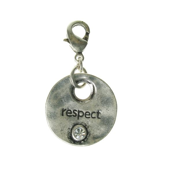 A & C Disc Charm 'RESPECT' Silver Plate
