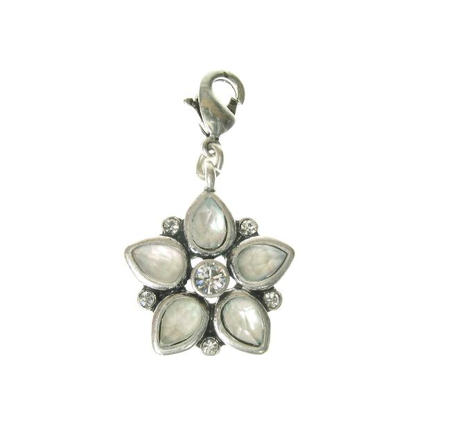 A & C Aurora Borealis Crystal Flower Charm Silver Plate