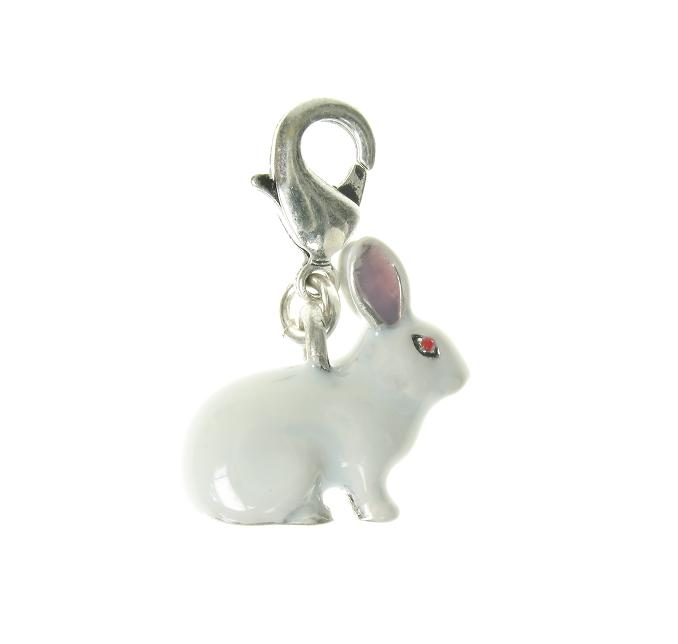 A & C Small White Bunny 'Rabbit' Charm