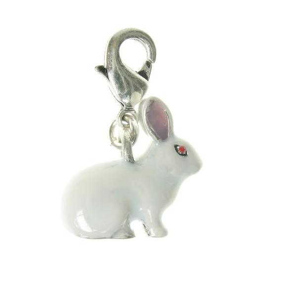 A & C Larger White Rabbit Charm Medium Clasp