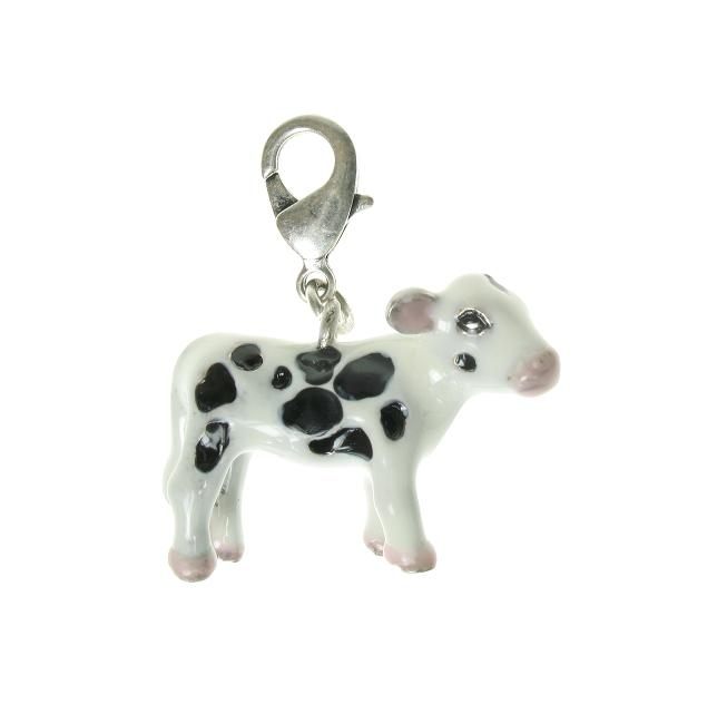 A & C 'Farm Yard' White Black Calf Cow Charm