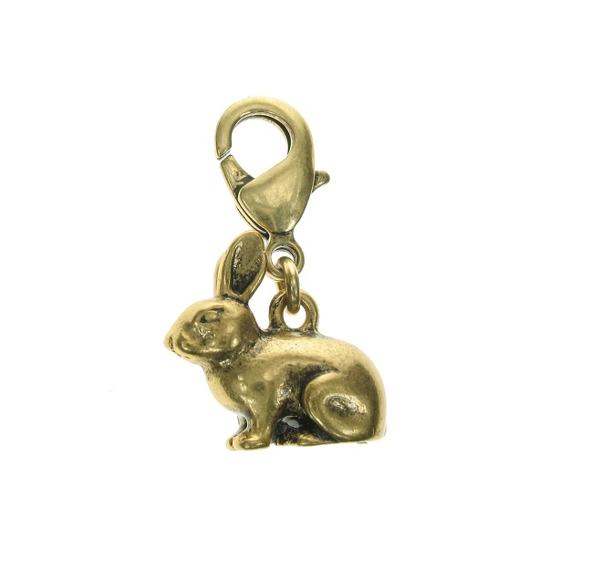A & C Small Bunny 'Dolls House' Charm Bronze Plate