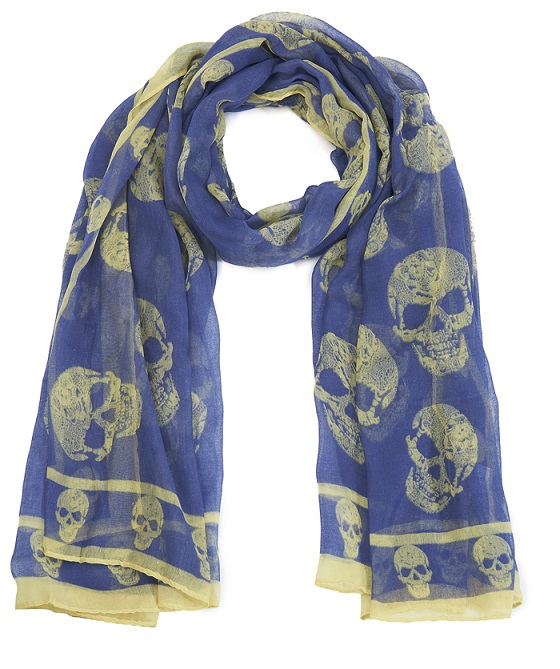 Skull Print Scarf - Denim Blue/Pale Yellow