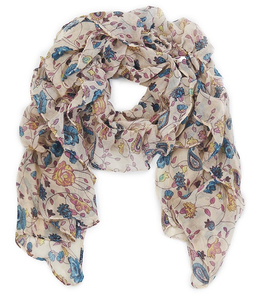 Paisley Flower Ruffle Scarf - Cream/Pink/Blue