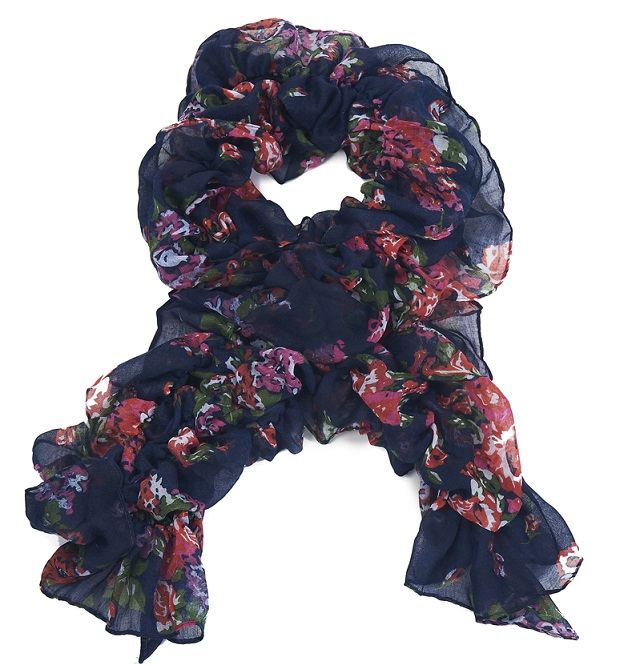 Rose Ruffle Scarf - Navy Blue/Pink/Green