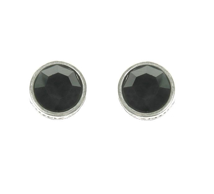 A & C Jet Black Swarovski Crystal Silver Plate Stud Earrings