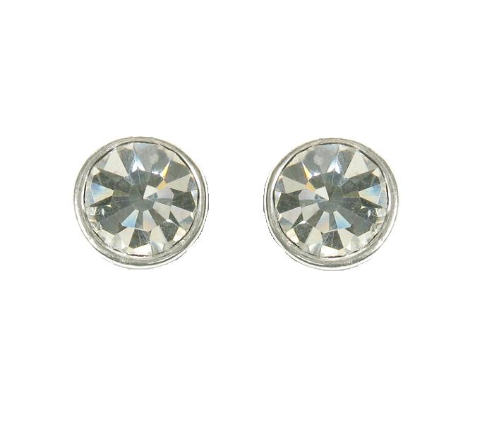 A & C Clear Swarovski Crystal Silver Plated Stud Earrings