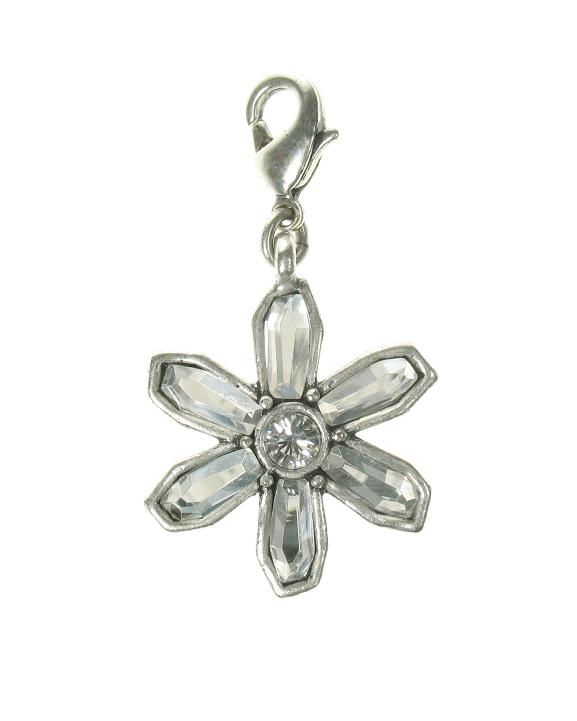 A & C Clear Crystal Petal Flower Charm Silver Plate