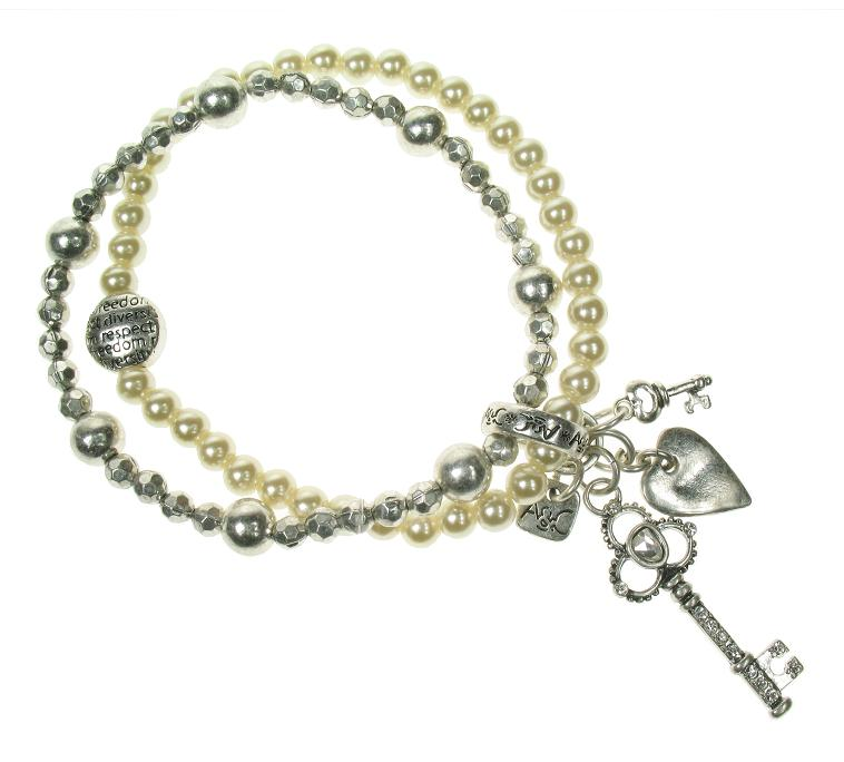 A & C Key To My Heart Charm Stretch Bracelet