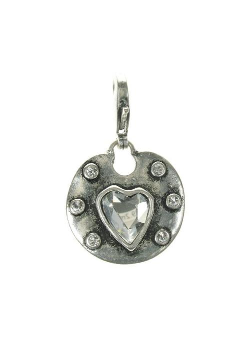 A & C Medium Crystal Heart & Frame Disc Charm