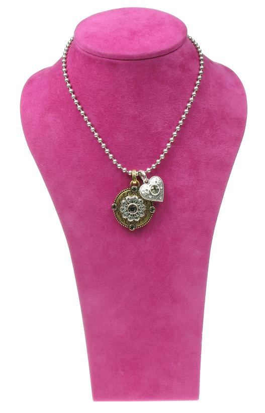 A & C Mixed Metal Normandie Disc & Heart Necklace