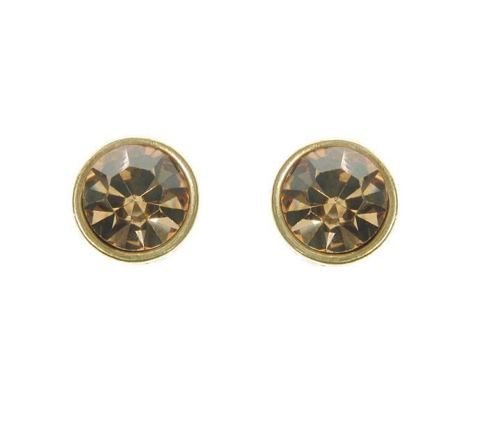 A & C Light Topaz Swarovski Crystal & Gold Stud Earrings
