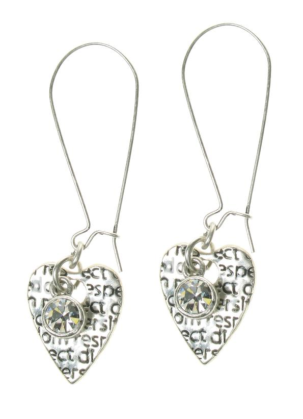 A & C Silver Tweed Heart & Swarovski Drop Earrings