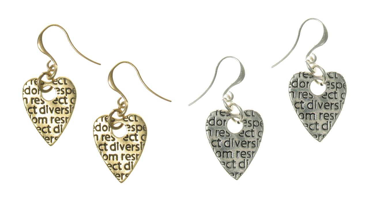 A & C Impressed Beaten 'Tweed'  Heart Charm Earrings