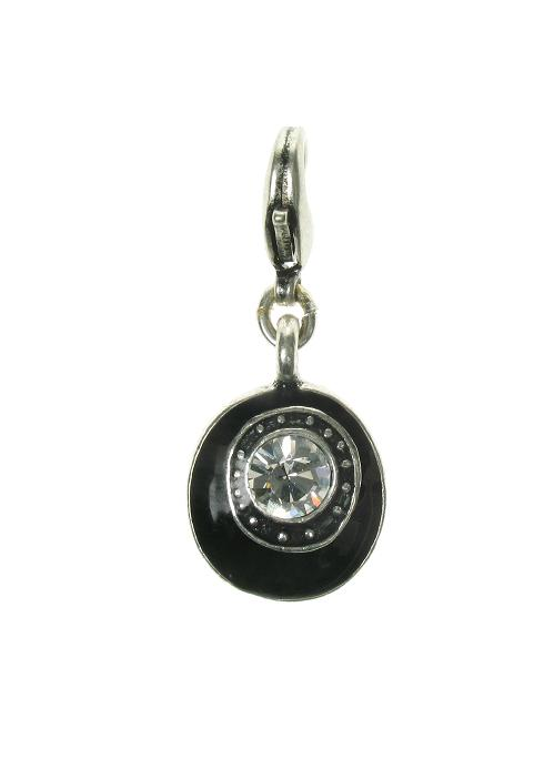 A & C Black Disc & Crystal Charm Silver Plate