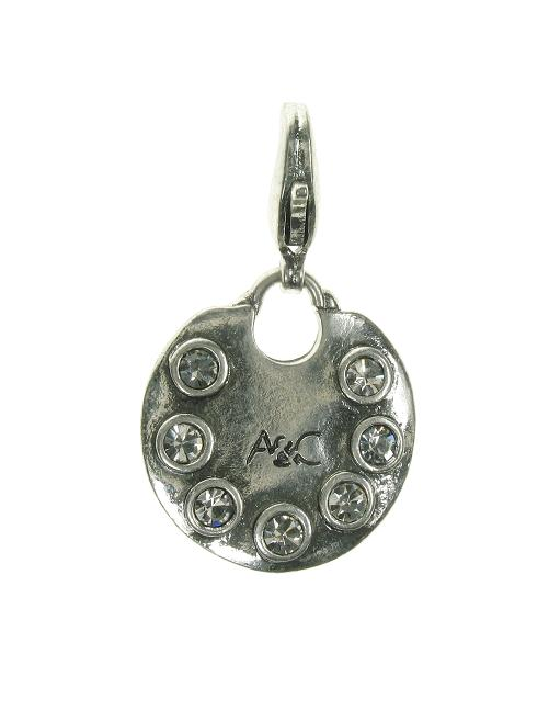 A & C Clear Swarovski Studded Disc Charm Silver Plate