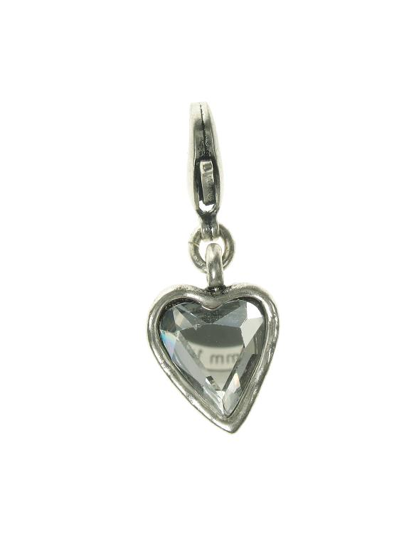 A & C Small Hand-Cut Faceted Crystal Heart Charm Silver Plate