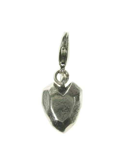A & C Angular Heart Charm Silver Plate