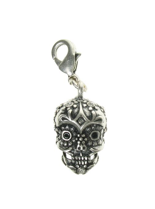 A & C Ornate 'Day Of The Dead' Skull Charm Silver Plate