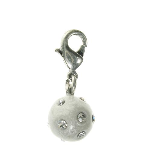 A & C White 'Winter Dream' Snowball Charm Silver Plate