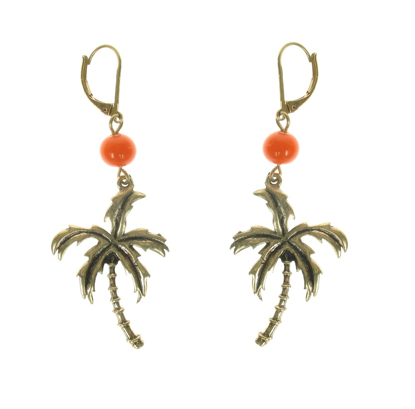 Bohm Aloha Tropical Palm Tree Charm Earrings - Burnished Gold Plate