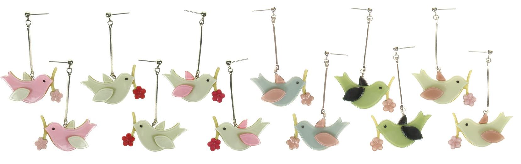 Big Baby Bird Carrying A Flower Earrings
