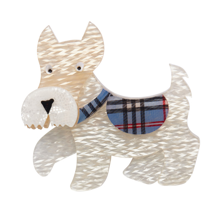 Wallace - Erstwilder White Scottish Terrier Brooch