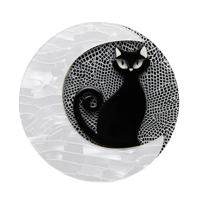 Cara the Halloween Kitty - Erstwilder Black Cat on Crescent Moon Brooch