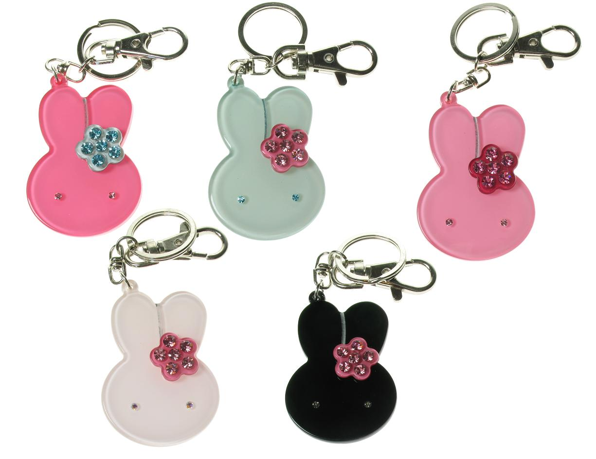 BIG BABY Bunny Rabbit & Flower Keyring/Bag Charm