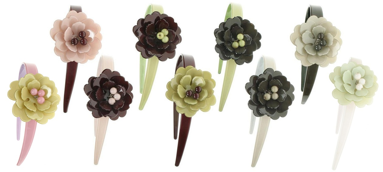 BIG BABY Peony Flower Hair Head-Band  - Colour Set 2