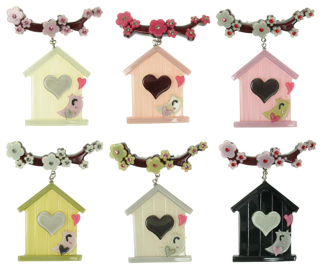 BIG BABY Bird House & Blossom Brooch/Pin