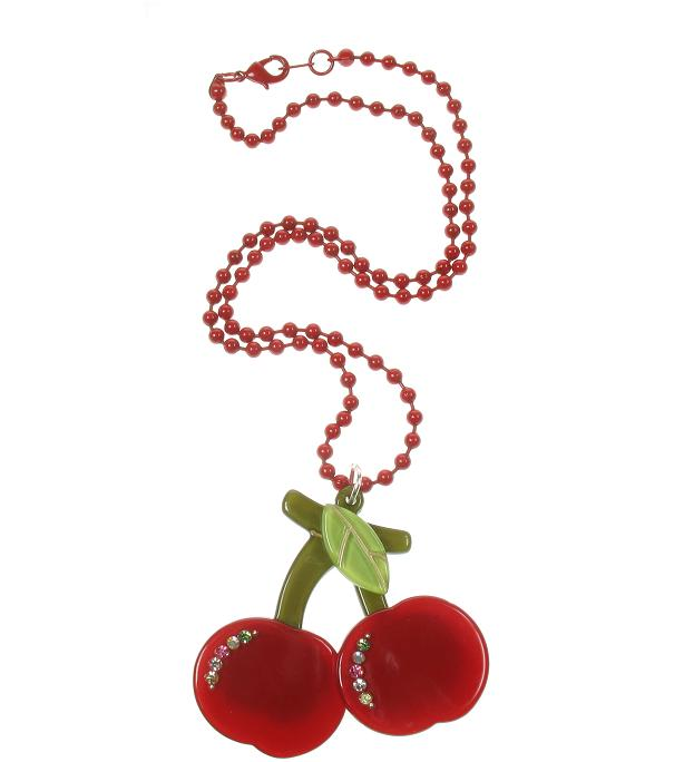 BIG BABY Pair Of Cherries Necklace