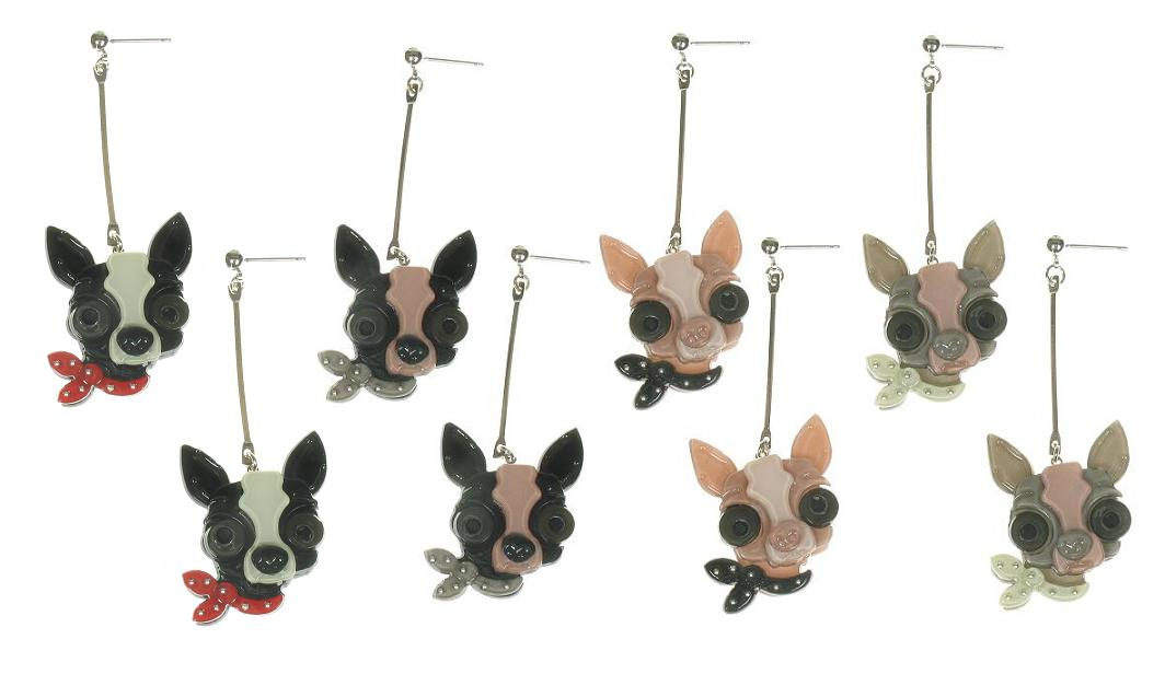 BIG BABY Chihuahua Chiwawa Dog With Neck Tie Earrings