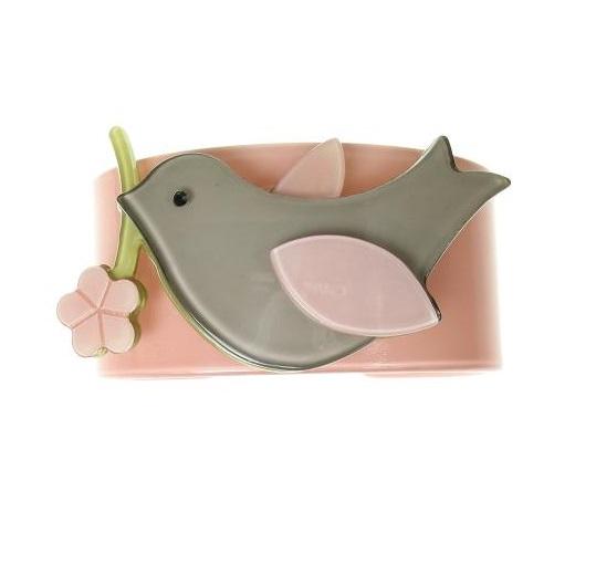 Bird & Flower Dusty Pink & Grey Wide Cuff - BIG BABY Bangle