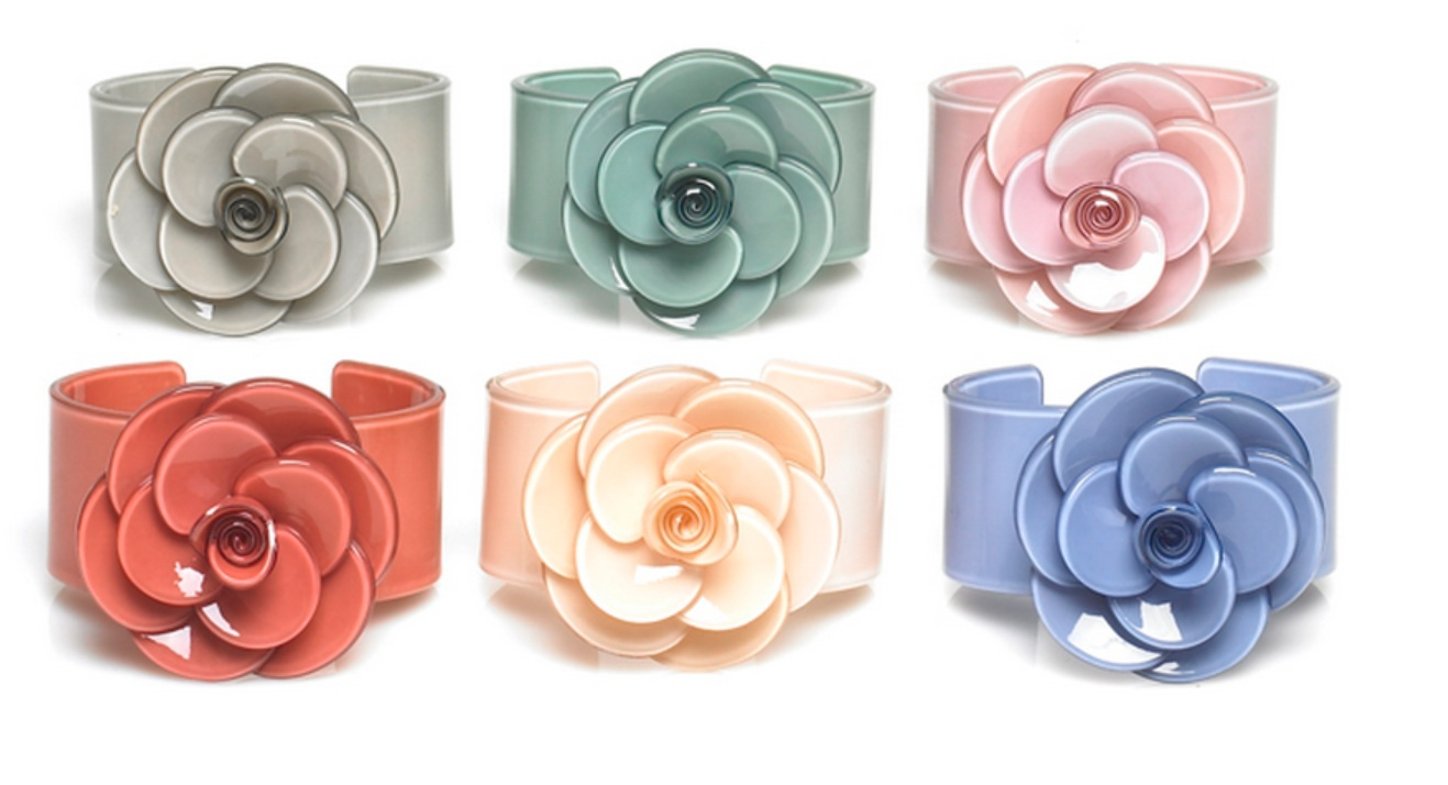 BIG BABY Wide Rose Cuff Bangle/Bracelet  - Colour Set 3