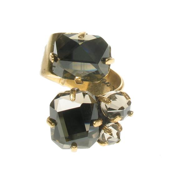 Faceted Crystal Smoked Topaz Ring By A & C