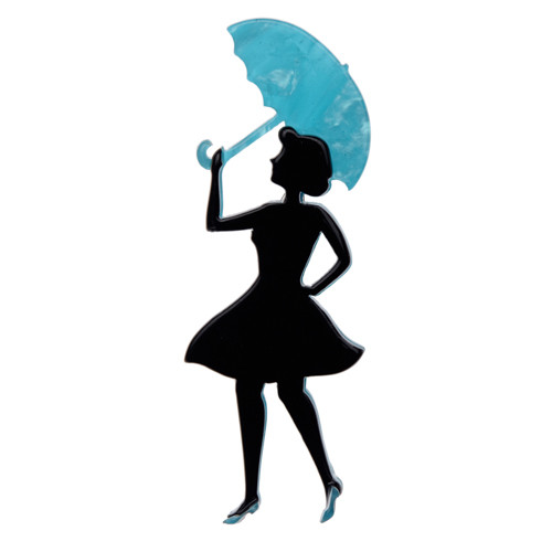 A Change In The Wind - Erstwilder Silhouette Umbrella Brooch