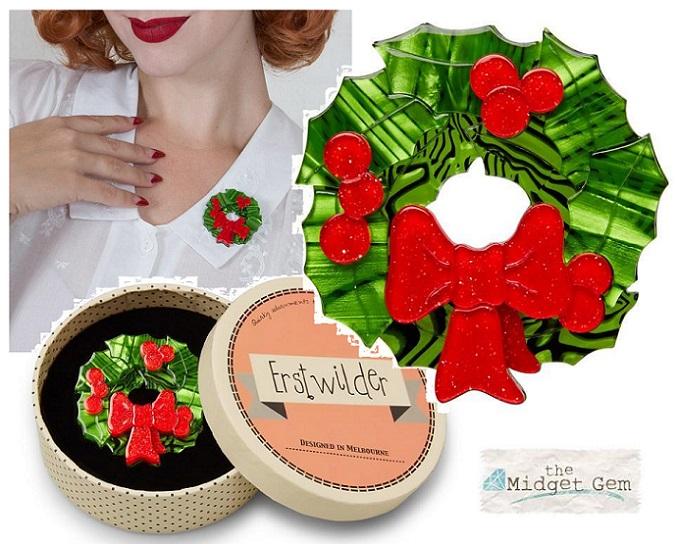 Deck the Halls - Erstwilder Christmas Wreath Brooch