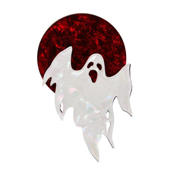 Ghostly Gary - Erstwilder Red Moon & Ghost Brooch