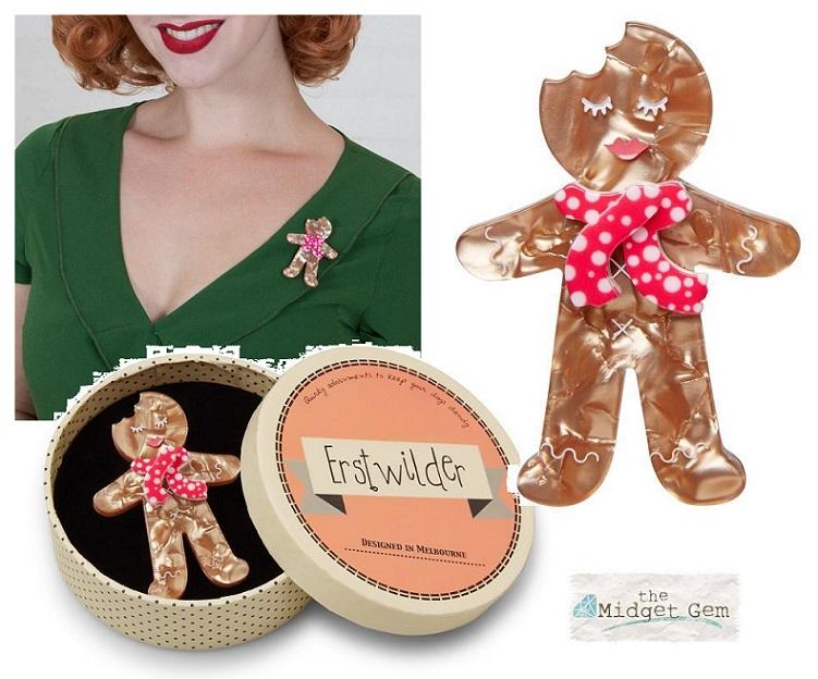 Ginger the Christmas Cookie - Erstwilder Ginger Bread Man/Woman Brooch