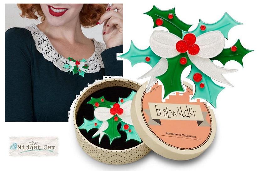 Kiss Me Kindly - Erstwilder Holly & Berries Brooch