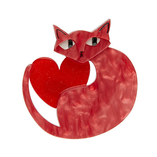 Linda Love Cat - Erstwilder Cat & Heart Brooch