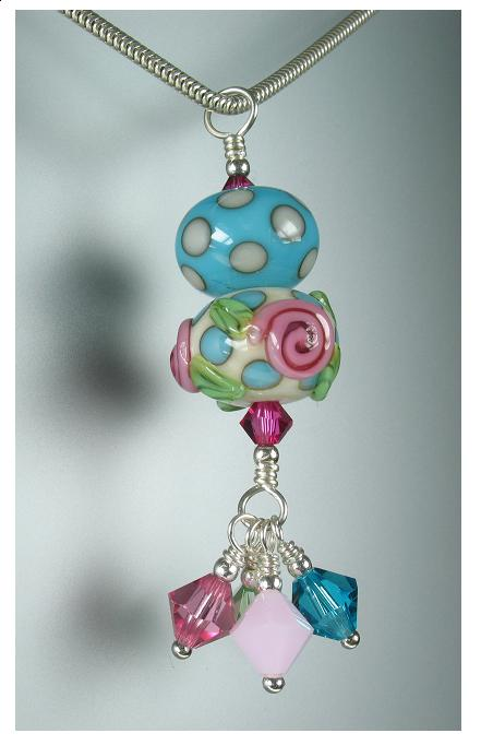 GLASSIER Glass Duo Pendant - Turquoise/Ivory Polka Dots With Pink Roses