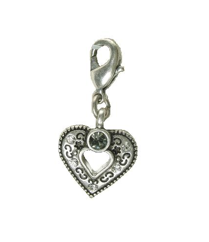 A & C 'Normandie' Open Heart Charm Silver Plate