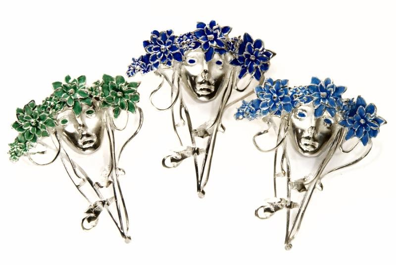 Silver Dream Art Nouveau Lady Pin/Brooch
