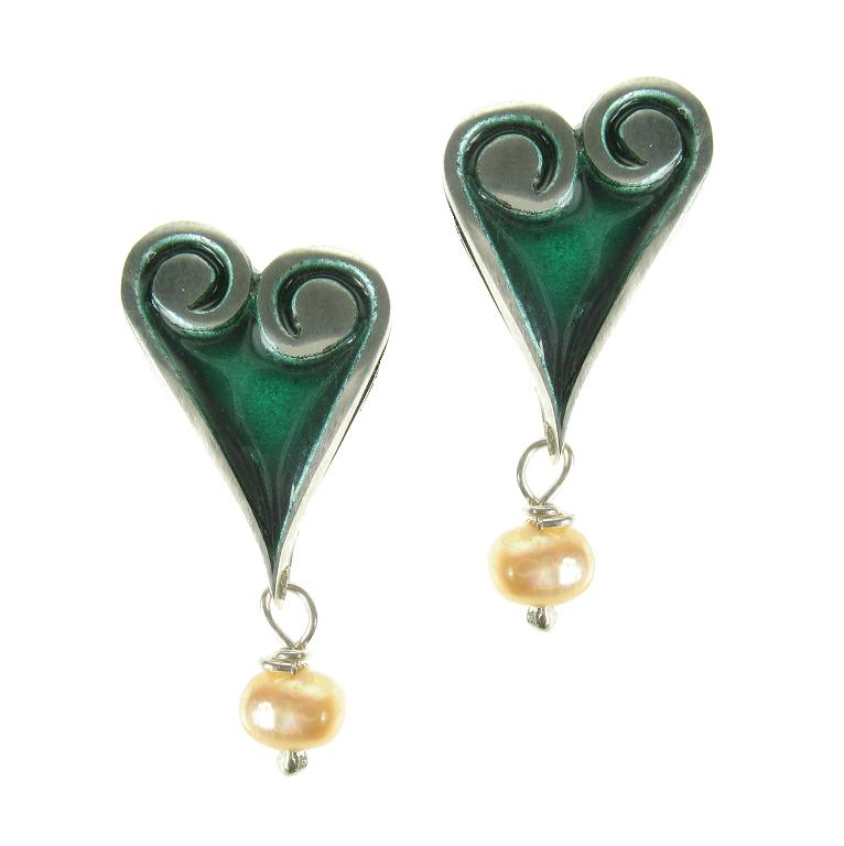 Silver Dream Green Enamel Heart Earrings