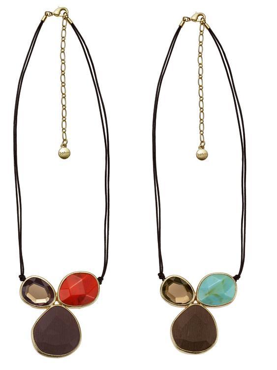Sahara Trio-Jewel Pendant Necklace - Satin Gold Plate