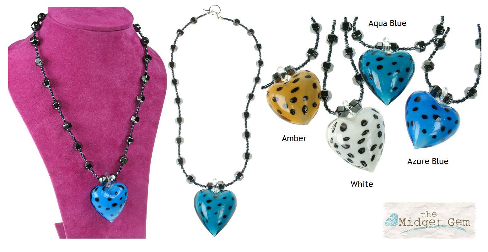 PINK Hematite & Polka Dot Glass Heart Necklace