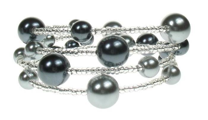 PINK 'Shades of Grey' Lunar Glass Pearl Bracelet Wrap